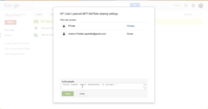 Share printers with google cloud print